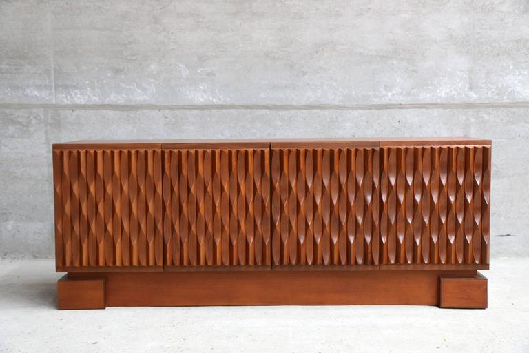 Belgian Brutalist Sideboard With Four Graphic Organic
