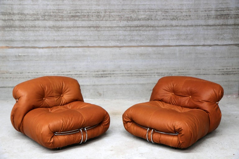 Mid-Century Modern Pair of Soriana Lounge Chairs by Tobia Scarpa and Edited by Cassina For Sale