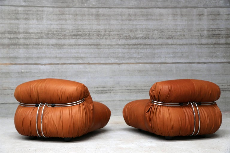 Italian Pair of Soriana Lounge Chairs by Tobia Scarpa and Edited by Cassina For Sale