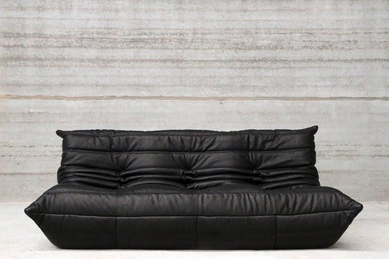 three seat togo ligne roset by michel ducaroy full grain black leather for sale at 1stdibs. Black Bedroom Furniture Sets. Home Design Ideas