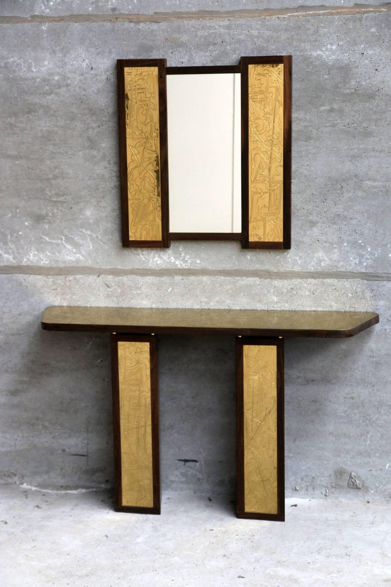 Mirror and console by Studio Belgali, handmade acid etched brass, one of a kind.