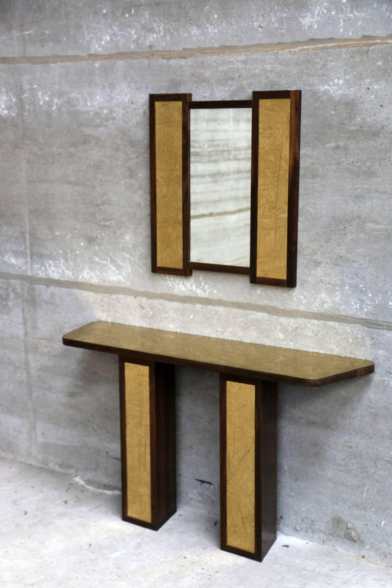 Hollywood Regency Solid Rosewood and Etched Brass Console and Mirror by Studio Belgali For Sale