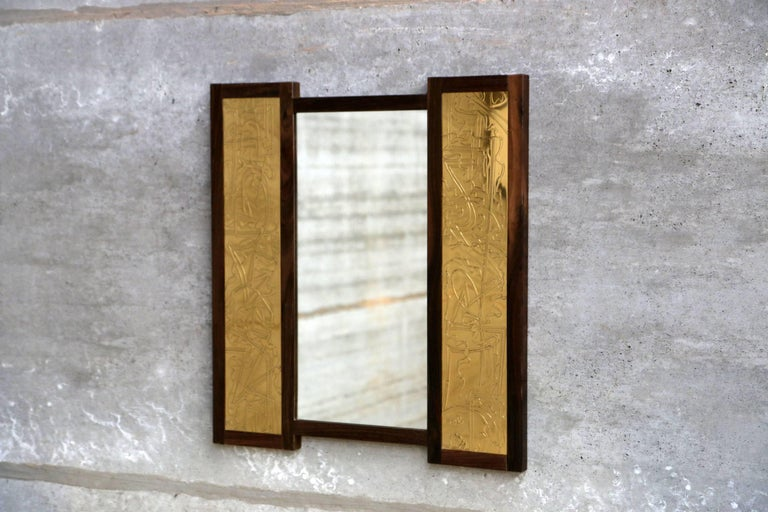 Solid Rosewood and Etched Brass Console and Mirror by Studio Belgali In Good Condition For Sale In Ostend, BE