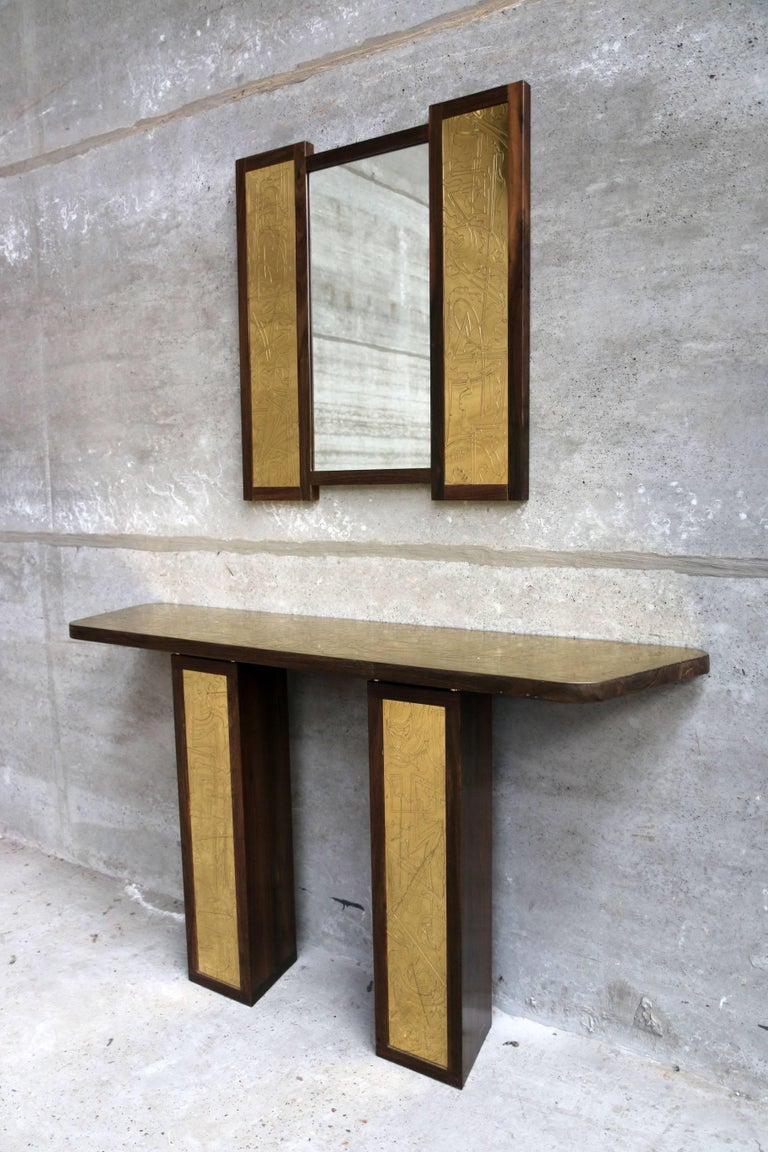 Solid Rosewood and Etched Brass Console and Mirror by Studio Belgali For Sale 1
