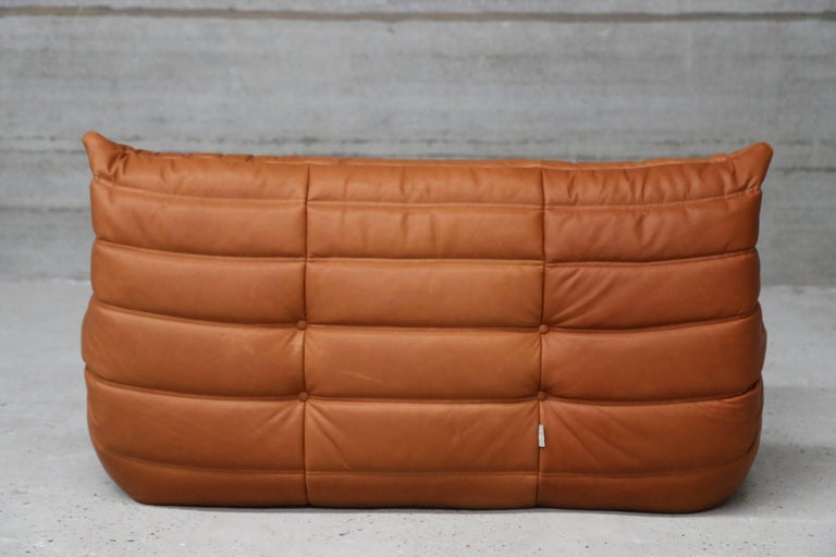 loveseat togo by michel ducaroy for ligne roset in full grain cognac leather for sale at 1stdibs. Black Bedroom Furniture Sets. Home Design Ideas