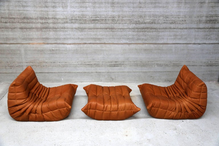 Mid-Century Modern Pair of Vintage Ligne Roset Togo Leather Lounge Chairs with Pouf, France For Sale