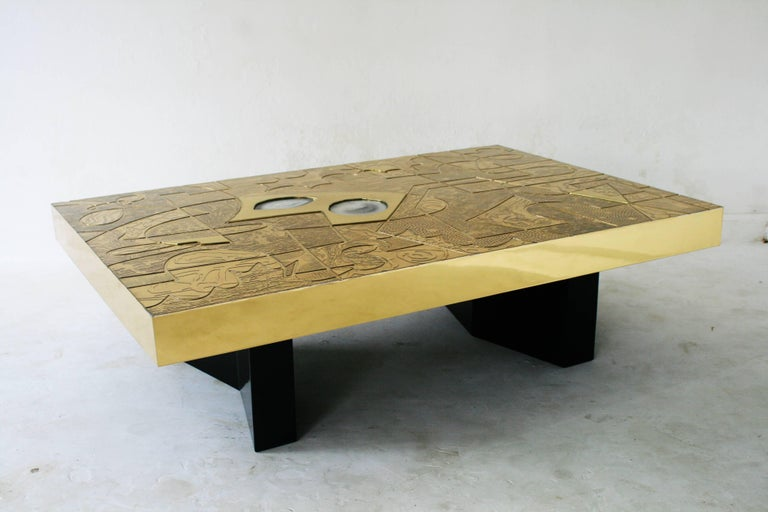 Belgian made high end hand made brass acid etched cocktail table with agate inlay by Belgali. only for the fortunate.