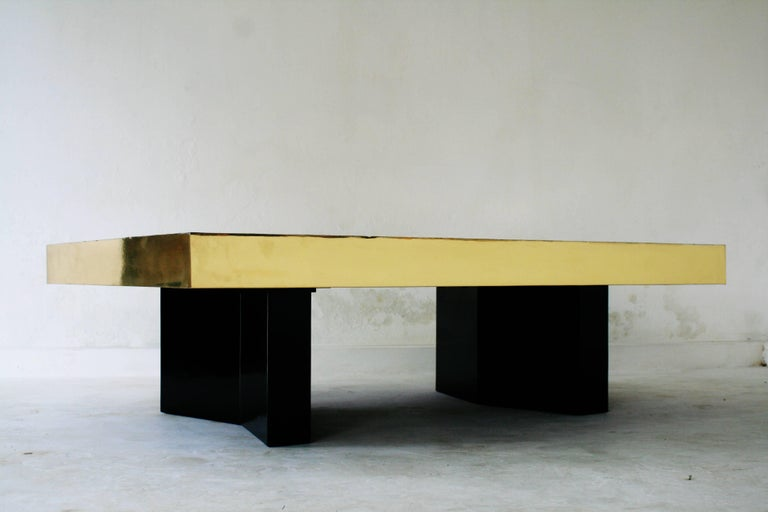 Belgali Coffee Table, Patinated Acid Etched Brass and High End Agate Slice In Excellent Condition For Sale In Ostend, BE