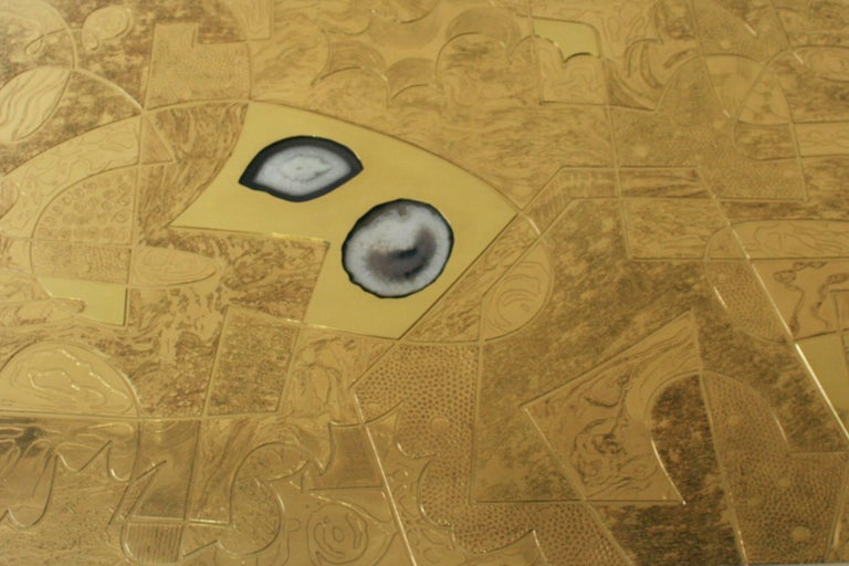 Contemporary Belgali Coffee Table, Patinated Acid Etched Brass and High End Agate Slice For Sale