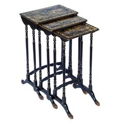 Fine Set of Three Early 19th Century Chinese-Export Chinoiserie Nesting Tables