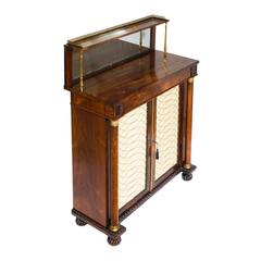 Regency Rosewood and Brass Bookcase Chiffonier Cabinet Patinated Mirror Plate