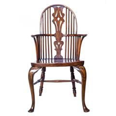 George III Rustic High-Back Windsor Thames Valley Armchair, Elm, Ash and Walnut