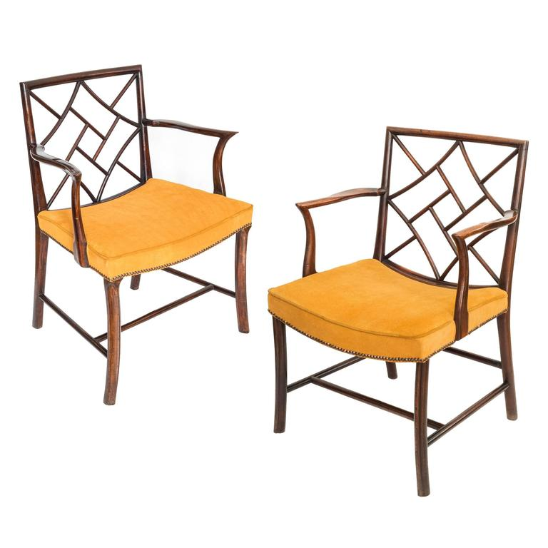 Two scottish georgian mahogany chinese lattice back for Chinese style furniture for sale