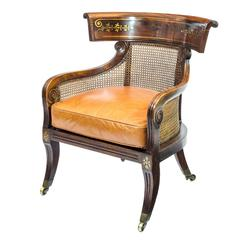 Fine English Regency Period Faux Rosewood Brass Inlaid Library Bergere Armchair