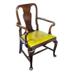 Superb Early 18th Century English George II Cuban Mahogany Open Armchair