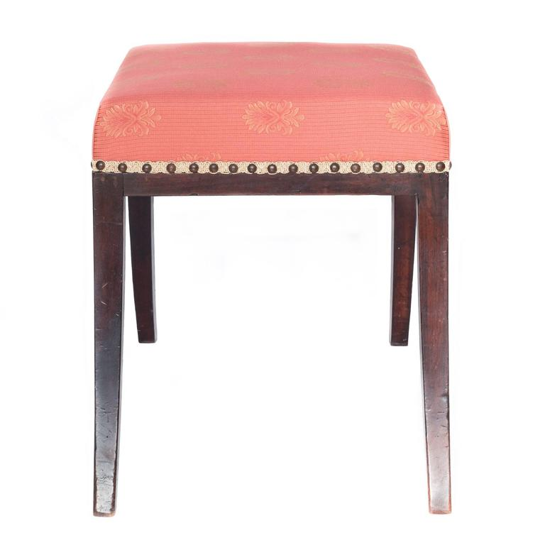 klismos stool ~ antique english 19th century mahogany saber leg klismos