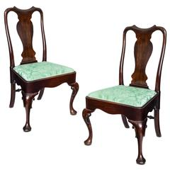 Fine Pair of English 18th Century Georgian Queen Anne Mahogany Chairs