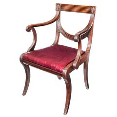 Fine Early 19th Century English Regency Mahogany Desk Klismos Armchair, c. 1810