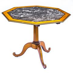 Fine Louis XVI Satinwood, Amaranth, Brass-Mounted Marble Top Octagonal Gueridon