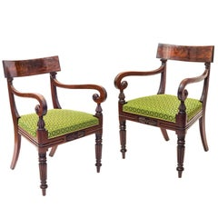 Fine Pair of 19th Century English Regency Mahogany Armchairs in Green Horsehair