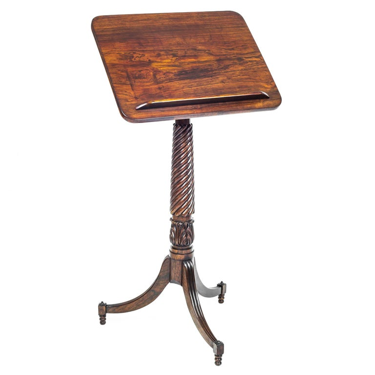 English 19th Century Regency Adjustable Telescopic Tripod Table or Music Stand