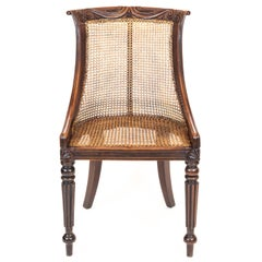 Early 19th Century English Regency Gillows Carved Tub Bergere Desk Library Chair