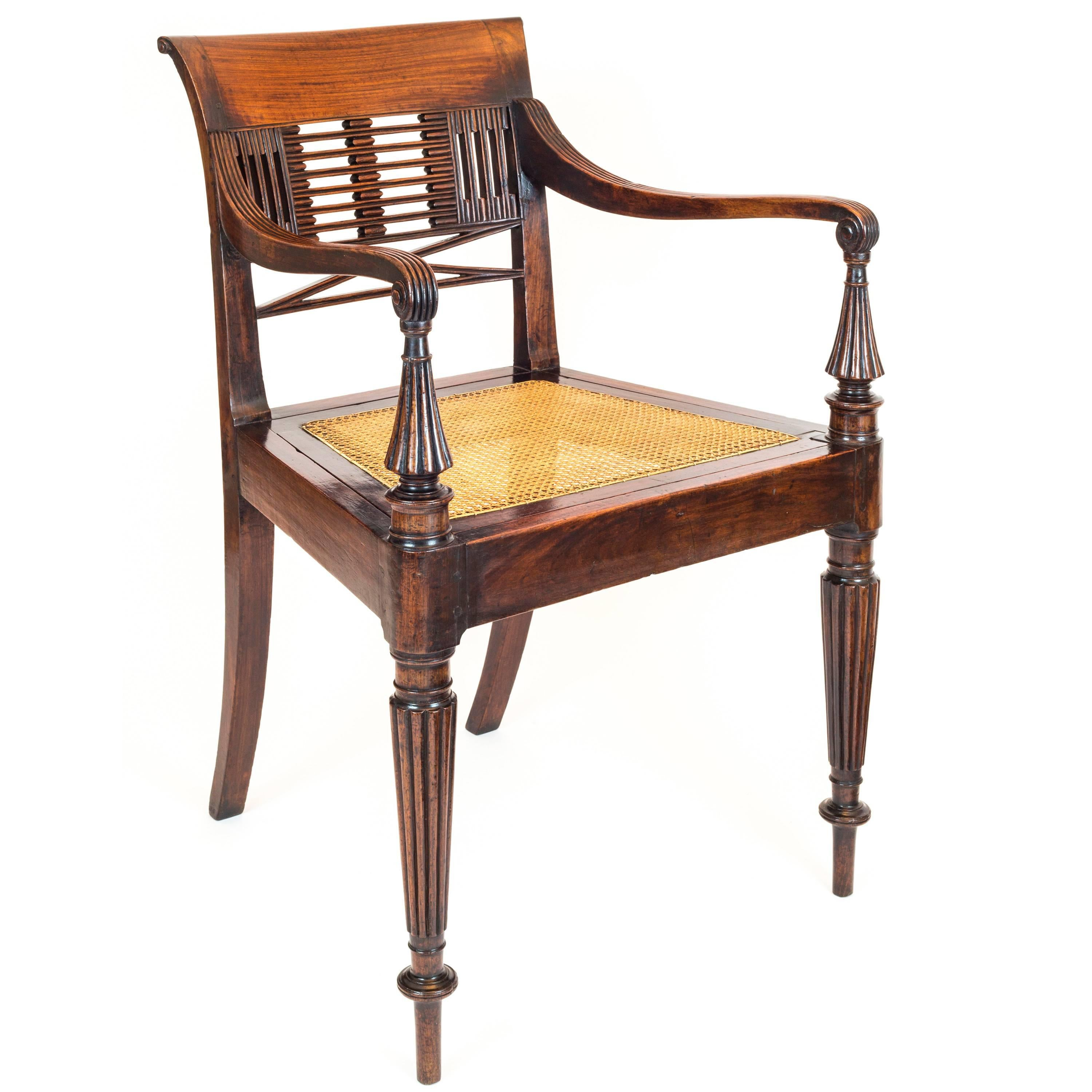 Nice Scrolled Cane Work Open Armchair Antique Furniture