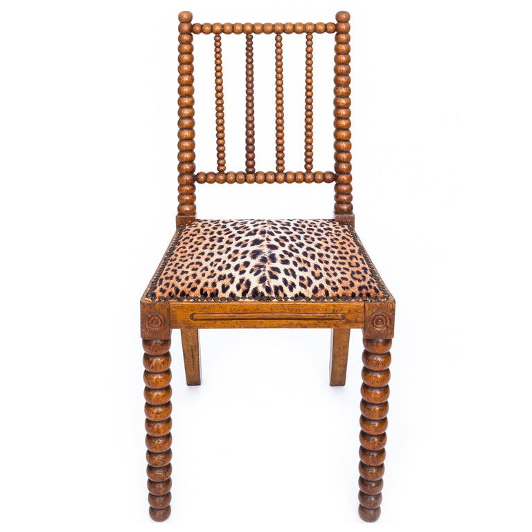 Beech 19th Century English Pair of Bobbin Chairs in Colefax and Fowler Leopard Velvet For Sale