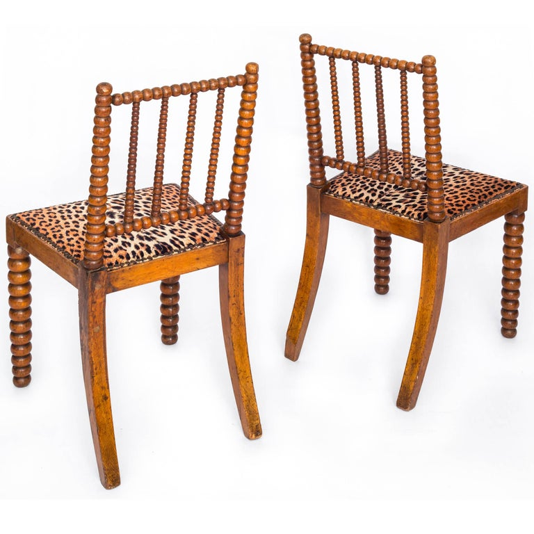 19th Century English Pair of Bobbin Chairs in Colefax and Fowler Leopard Velvet For Sale 1