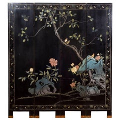 19th Century Chinese Black Lacquer Gilt Painted Room Divider Screen