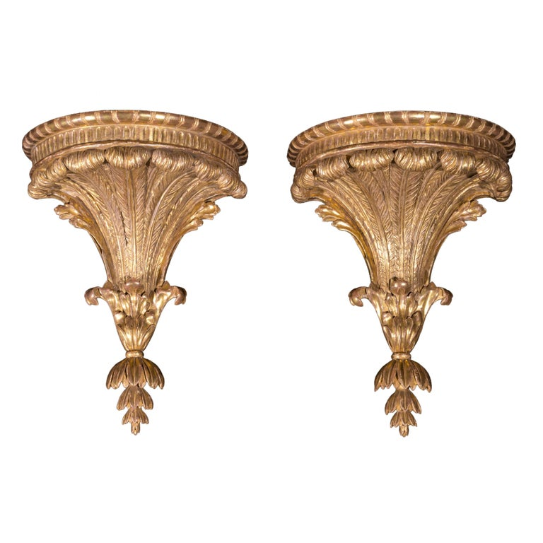 Large Pair of 18th Century English Neoclassical Gilt Wall Brackets