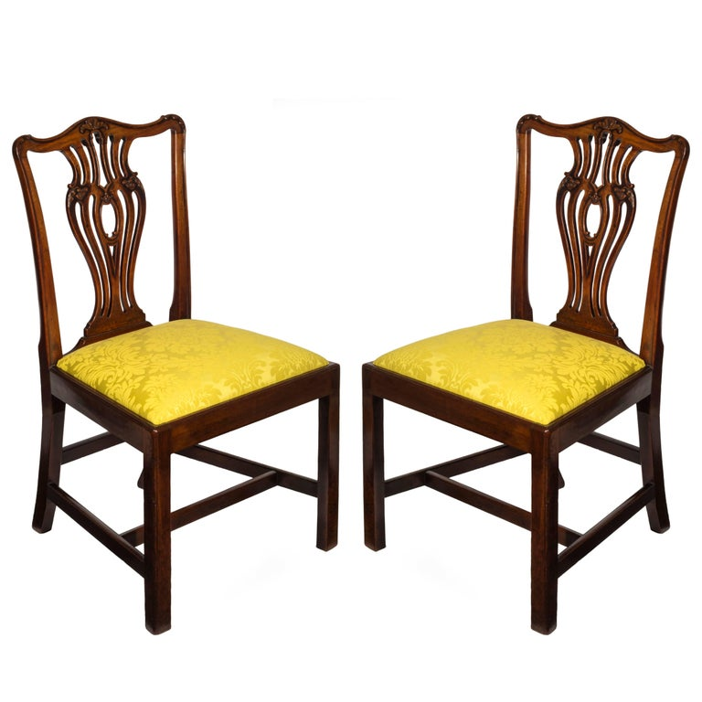 Hand-Carved Set of Six English 18th Century George III Chippendale Mahogany Dining Chairs For Sale