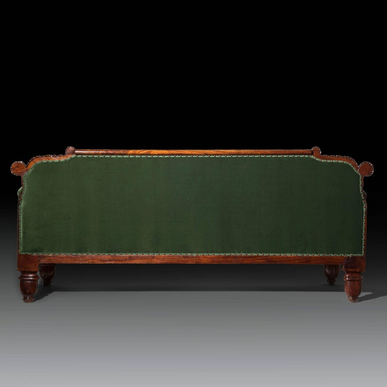 English 19th Century Regency Mahogany Sofa in Green Velvet Design by John Taylor For Sale 1