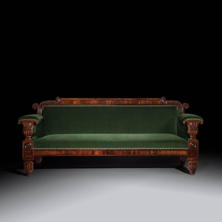 English 19th Century Regency Mahogany Sofa in Green Velvet Design by John Taylor For Sale 2