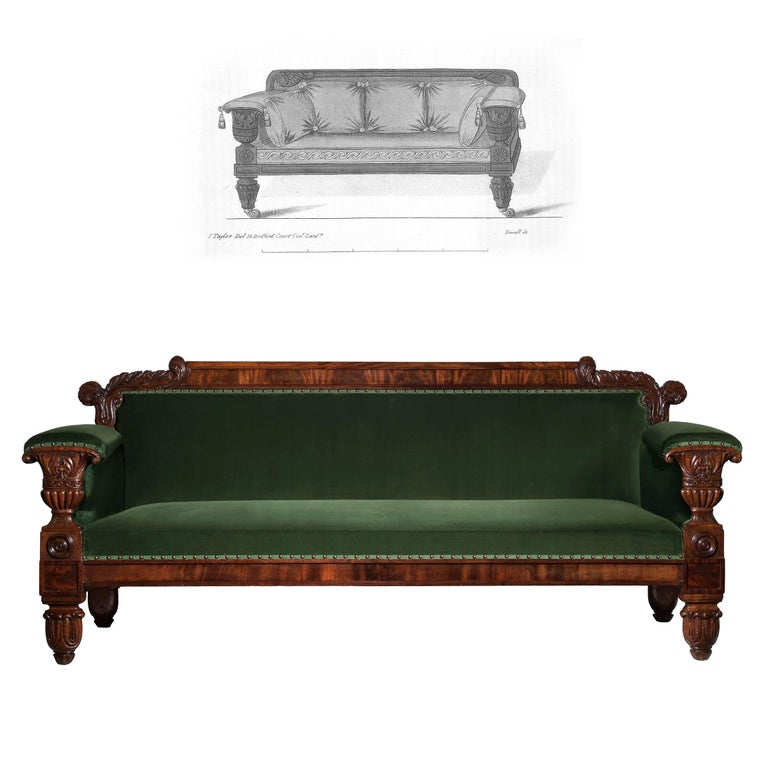 English 19th Century Regency Mahogany Sofa in Green Velvet Design by John Taylor In Good Condition For Sale In London, GB
