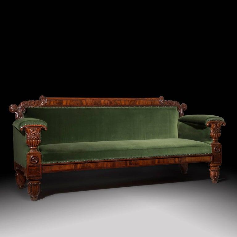 Hand-Carved English 19th Century Regency Mahogany Sofa in Green Velvet Design by John Taylor For Sale