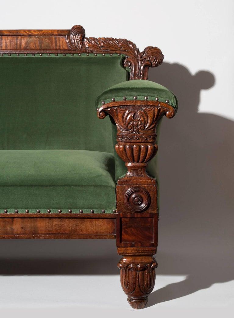Greek Revival English 19th Century Regency Mahogany Sofa in Green Velvet Design by John Taylor For Sale