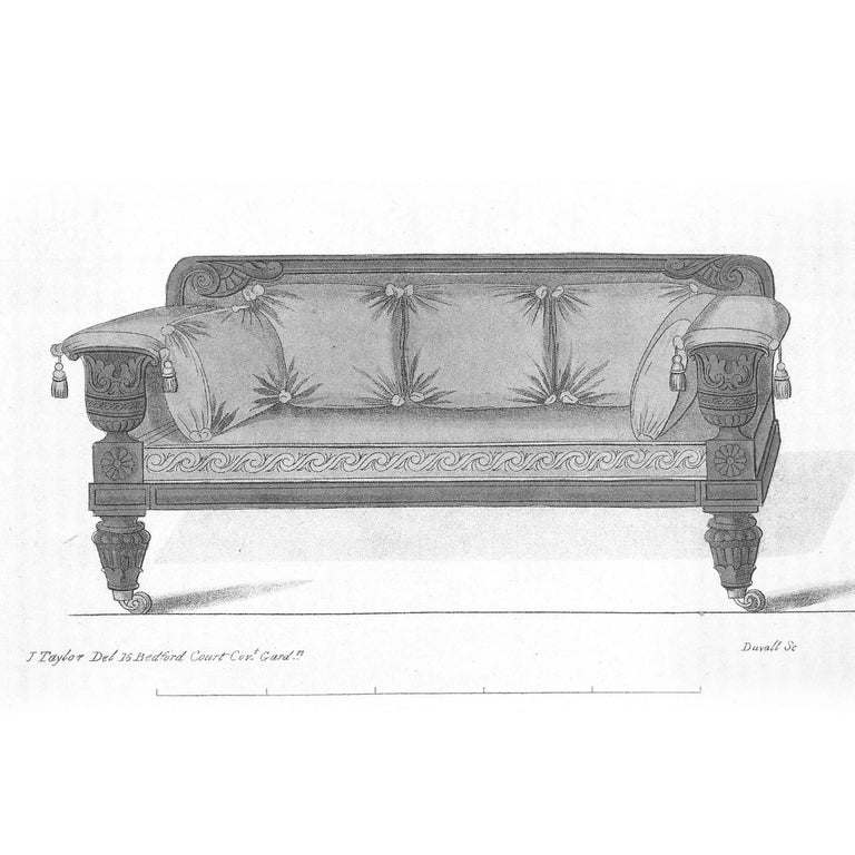 A very fine English Regency period carved mahogany sofa in the Grecian taste, after a design by John Taylor, circa 1820.  The panelled top rail with acanthus-wrapped scroll ends, above a padded back and seat, above the reeded Grecian urn-shaped
