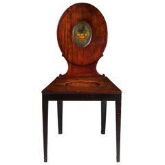 George III Neoclassical Mahogany Hall Chair