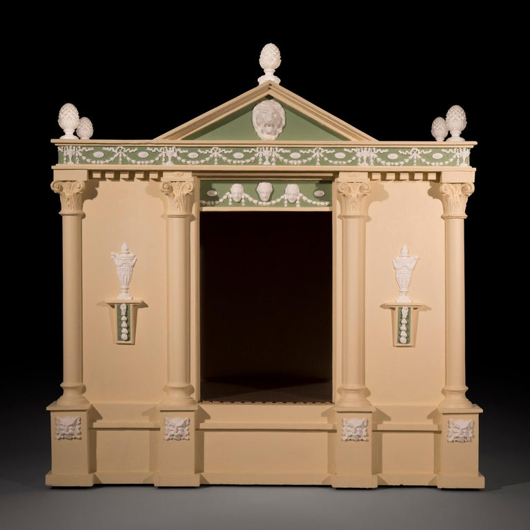 Appliqué Antique Neoclassical Architectural Cream and Green Painted Dog Kennel For Sale