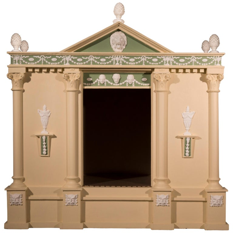Antique Neoclassical Architectural Cream and Green Painted Dog Kennel For Sale
