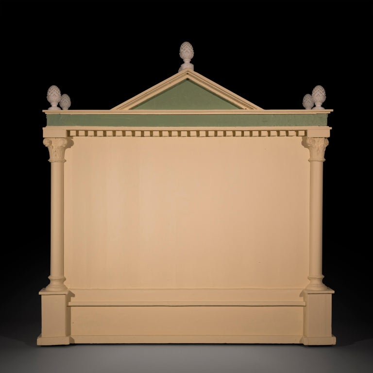20th Century Antique Neoclassical Architectural Cream and Green Painted Dog Kennel For Sale