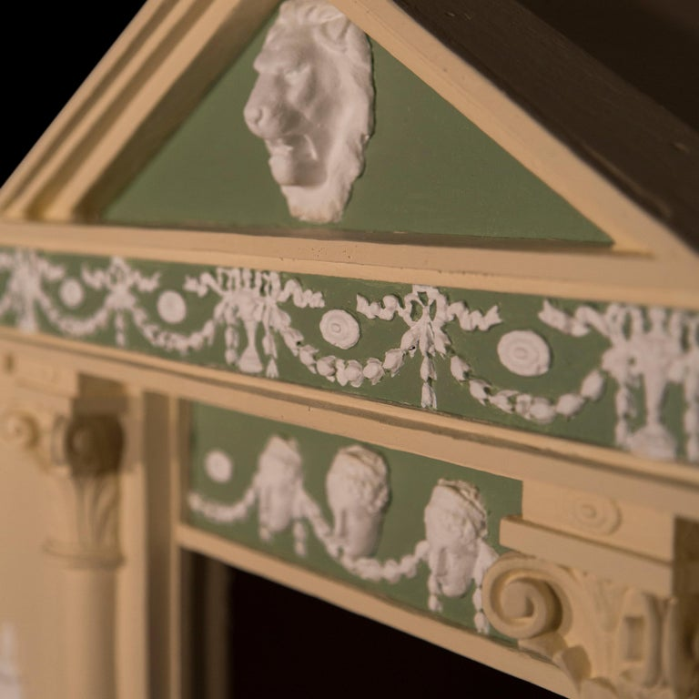 English Antique Neoclassical Architectural Cream and Green Painted Dog Kennel For Sale