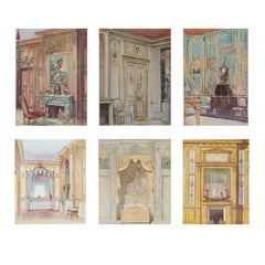 Set of Six Antique French Interior Decor Lithoghraphic Prints