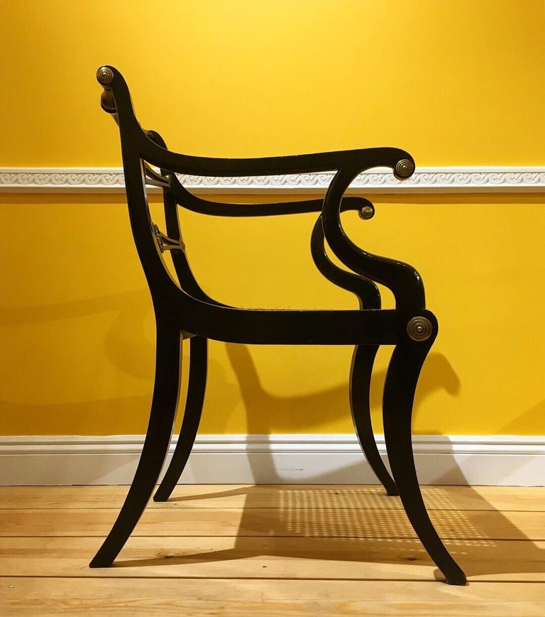 Set of Eight Regency Black Lacquer Gilt-Brass Mounted Klismos Dining Chairs For Sale 3