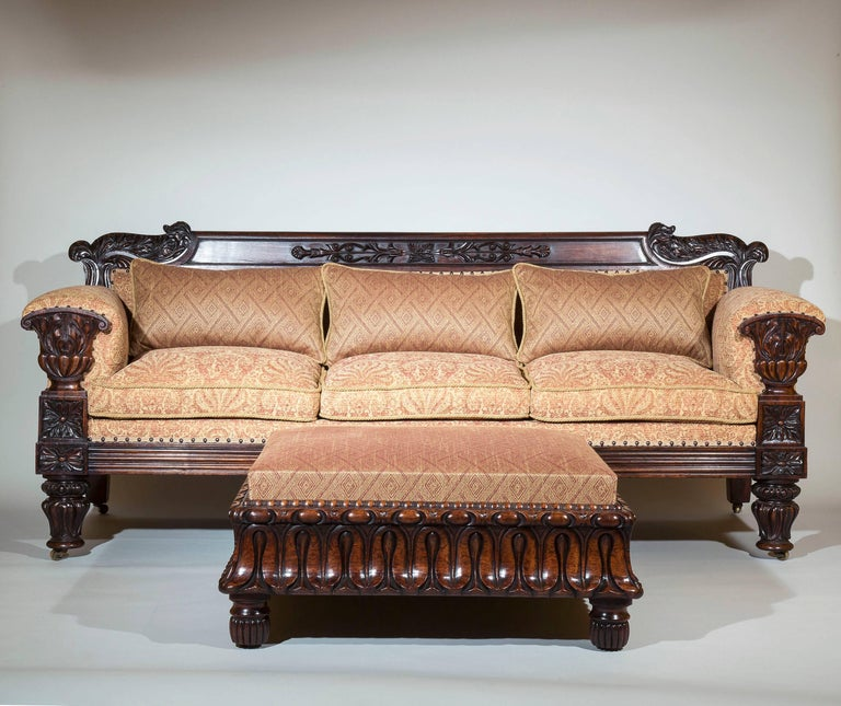 English 19th Century Regency Carved Sofa By John Taylor For 1
