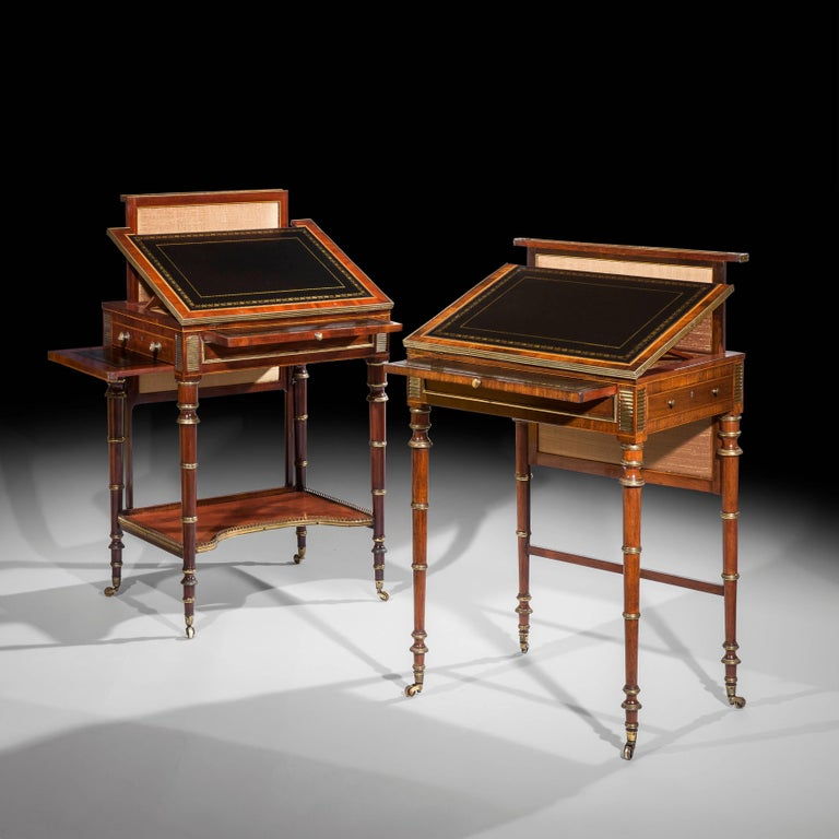 Gilt Close Pair of Regency Writing Tables by John McLean For Sale