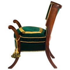 Regency Greek Revival Klismos Library Officers Chair in the Style of Thomas Hope