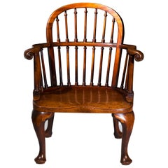 English 19th Century Country House Mahogany Windsor Armchair