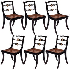 Set of Six Regency Black Painted Klismos Dining Chairs
